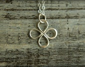 Infinite Clover Necklace in Sterling Silver, Celtic Clover Shape, Infinity Shaped, Openwork Charm, Simple Minimalist Jewelry Good Luck Charm