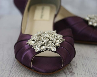 Wedding Shoes -- Plum Peeptoe Wedding Shoes with Silver Rhinestone Adornment