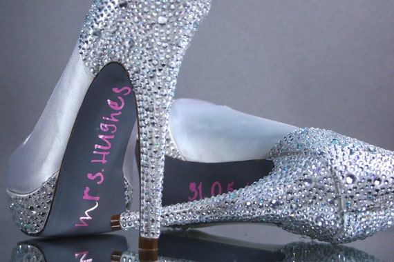 Wedding Shoes -- Ivory Platform Peep Toe Wedding Shoes with Rhinestone Heel & Platform, Gray Painted Sole and Pink Save the Date