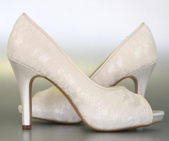 Wedding High Heels Ivory: Wedding Shoes Ivory Peep Toe Wedding Shoes By