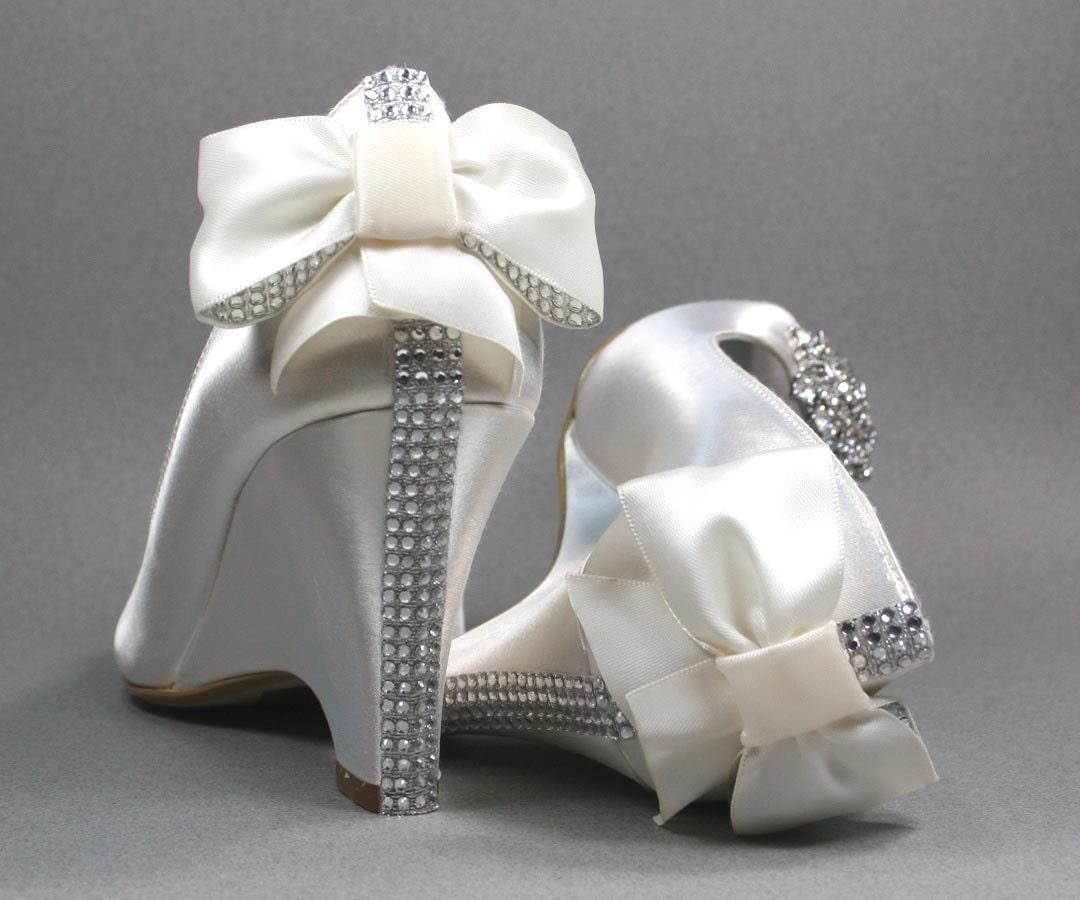 Ivory Wedding Wedge Heels: Wedding Shoes Ivory Peep Toe Wedding Wedges With Rhinestone