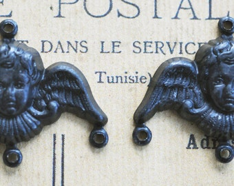 FOUR Angel Charms, Black satin finish, 20 mm - Charms - Supplies by CalliopesAttic