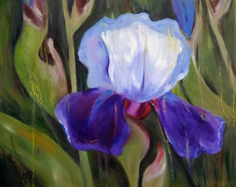 Iris painting, flower art, gifts for mom, blue purple flower, blue and white iris, spring flower, iris oil painting, mothers day gift ideas