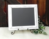 Shabby Chic 8 x 10 White Framed Chalkboard, Menu Chalkboard, Photo Prop Chalkboard, Wedding Sign Chalkboard