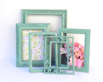 Shabby Chic Sage/Mint  Green Frame Collection, Five Upcycled Photo Frames, Photo Decor Frames