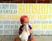 You are my sunshine -Horizontal-cottage style subway art - large typography sign 48x24 OVERSIZED