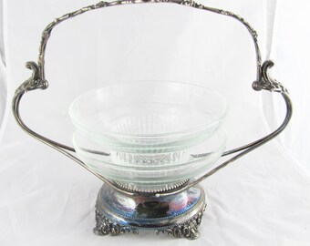Elegant Silver and Glass Handled Serving Dish Art Nouveau Art Deco Flourish Turn of the Century Buffet Table Brides Basket or Bridal Bowl