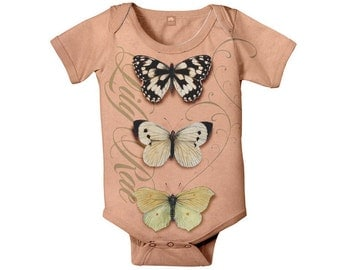 Personalized Butterfly Baby Bodysuit, Infant Girl One-Piece Outfit, Custom Baby Clothing
