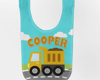 Dump Truck Baby Bib, Personalized Construction Birthday Bib, Baby Boy Dumptruck Bib, Custom Infant Bibs