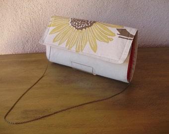 Sunflower Clutch--Natural Linen Placemat Bag