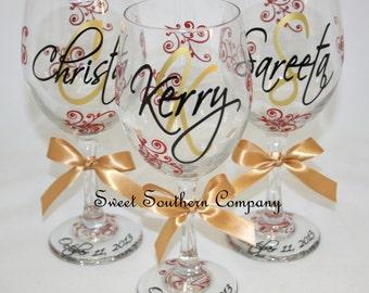 4 Monogrammed Bride and Bridesmaids Wine Glasses