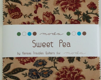 Sweet Pea Fabric Collection by Kansas Troubles for Moda Fabrics - 1 Charm Pack