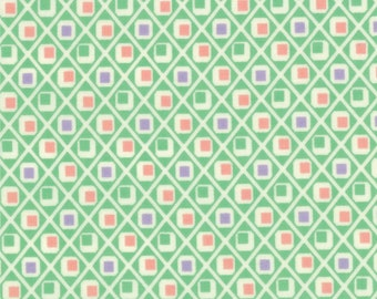 30s Playtime Fabric Collection -  Retro Retro Diamonds Green 32789-16 - 1 Yard