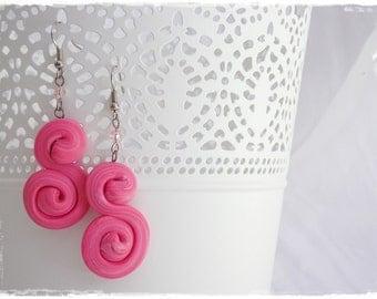 Kawaii Pink Earrings, Dangle Cute Earrings, Polymer Clay Earrings, Sparkling Spiral Earrings, S Clay Earrings, Cotton Pink Beach Jewelry
