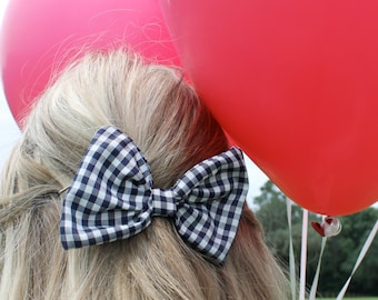 Navy Gingham Bow Tie Style Hair Bow