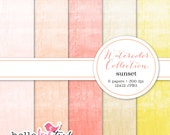 Watercolor digital paper pack - sunset - INSTANT DOWNLOAD