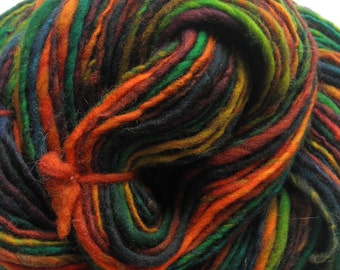 "Handspun Yarn ""Macaw"" Single Ply Merino Wool"