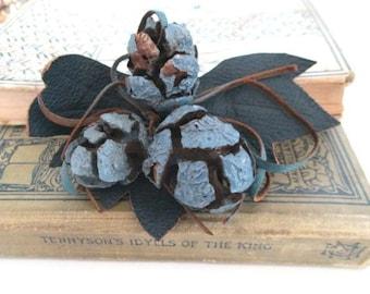 SALE Vintage Brooch Pine Cone Leather Leaf