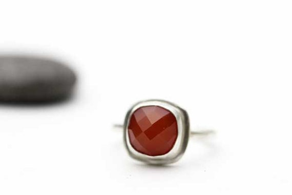 Carnelian Ring, Carnelian and Sterling Ring, Red Gemstone, OOAK Ring, Size 7