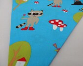 Cheeky Rascal Bunting perfect for Bedrooms, Birthdays & Parties Fairy Toadstools and Racoons!