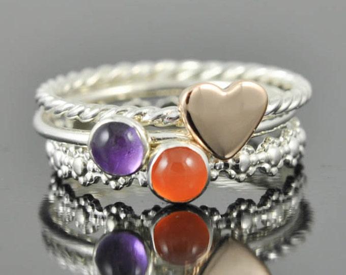 Amethyst ring, february birthstone, stacking ring, gemstone ring, sterling silver ring