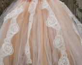 Victorian vintage ivory and peach lace tulle dress for weddings,flower girl dresses,photoprop