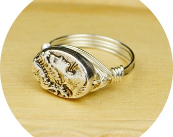 Cameo Ring- Sterling Silver Filled Wire Wrap Ring with Silver Tone Metal Bead - Any Size - Size 4, 5, 6, 7, 8, 9, 10, 11, 12, 13, 14