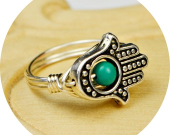 Turquoise Hamsa Hand Wrapped Ring- Turquoise and Silver Sterling Silver, Yellow or Rose Gold Filled Wire- Size 4,5,6,7,8,9,10,11,12,13,14
