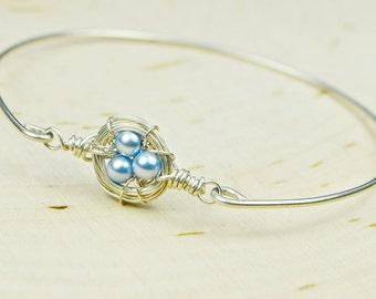 Swarovski Crystal Birds Nest  Bracelet-  Sterling Silver Filled Wire Wrapped Bangle Bracelet- Custom Made to Size