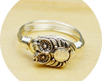 Owl Ring- Sterling Silver Filled Wire Wrapped Ring with Rustic Silver Tone Owl Bead - Any Size- Size 4, 5, 6, 7, 8, 9, 10, 11, 12, 13, 14