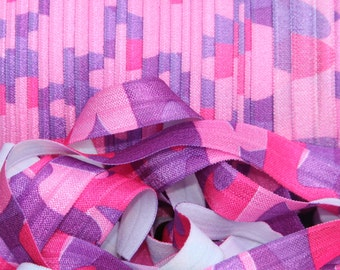 FREE Shipping! 5/8 Purple Pink Camo Camouflage Fold Over Elastic FOE 5 Yards