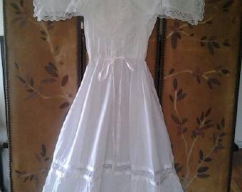 White cotton and lace gypsy wedding / boho dress
