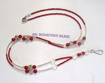 "Handmade 34"" RED and Silver Beaded Badge ID  LANYARD  Glass Beads Silver Accent Beads Durable Handy"