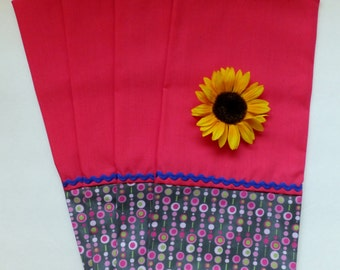 Hot Pink and Gray Flower Tea Towel Set with Purple Rickrack ~ Set of 2