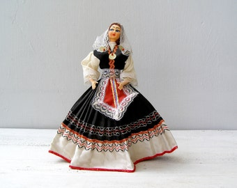 Vintage Greek woman Doll, Cloth face Souvenir Doll, Folk Dancer Figurine, White, Black, Red, Greek Costume figurine, Ethnic Handmade Doll