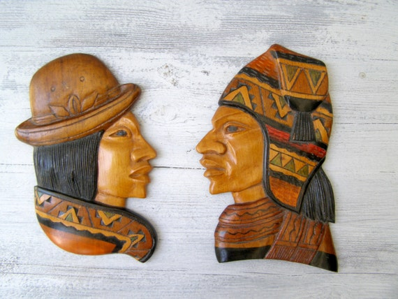 Native American Carved Wood Profile Set Man And Woman Wood