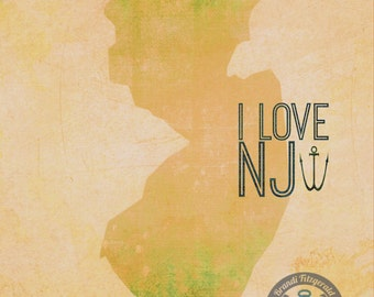 New Jersey Love State Outline Shabby Chic Anchor Beach Wall Decor Product Options and Pricing via Dropdown Menu