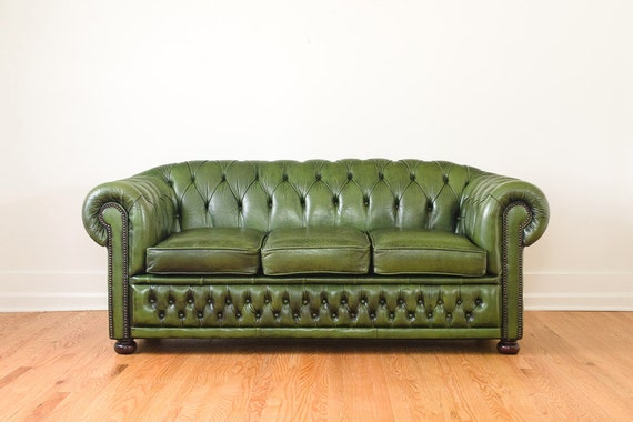 Vintage Green Leather Chesterfield Sofa Winchester Made In