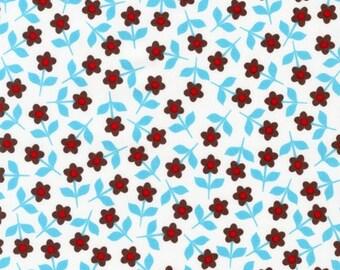 Organic Cotton - Blue Mini Posies From Robert Kaufman's Pop Posies Collection