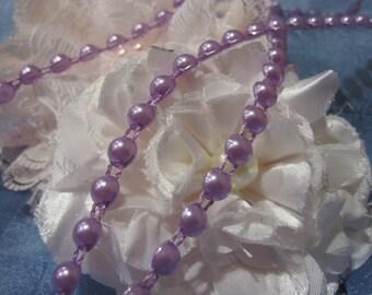 "Lavender Flat Back Pearl Trim 2 Yards 6mm - 1/4"""