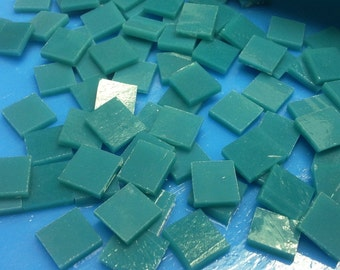 """TURQUOISE BLUEGREEN Aqua Opal 50 1/2"""" Stained Glass Mosaic Tile A5"""