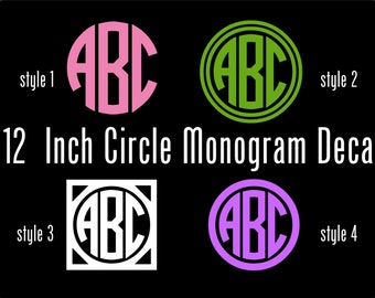 Vinyl Monogram Decal - 12 Inch Personalized Vinyl Decal - Circle Monogram Vinyl Car Window Decal -