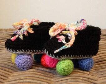 Baby roller derby rollerskates crochet baby shower gift roller skates rainbow multi colour color