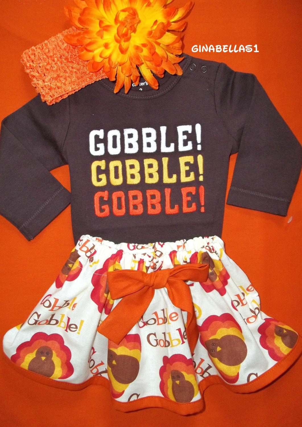 First Thanksgiving Day Baby Girl Outfit Onesie Gobble