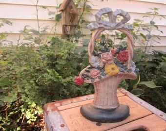 Vintage Hubley Flower Basket Door Stop