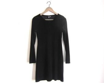 black velvet dress / long sleeve mini dress small