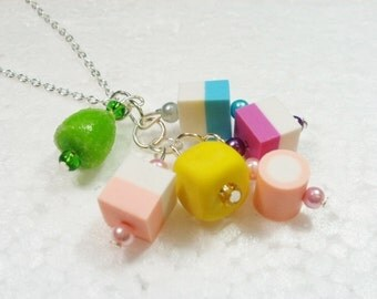 Dolly Mixture Pendant. Polymer Clay.