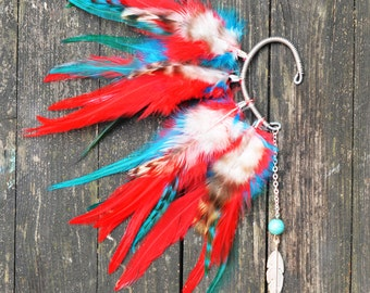 Feather Ear Cuff - Red and Blue