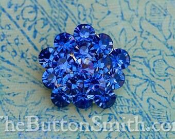 Rhinestone Buttons -Charlotte- (26mm) RS-011 in Blue Zircon - 5 piece set