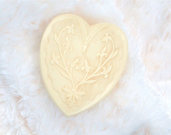 heart shaped celluloid lined jewelry box 30's